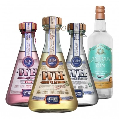 Kit Gin com 1 Dry Gin WH48, 1 Dry Gin WH48 Pink, 1 London Dry Gin WH48 e 1 London Dry Gin Antiqua.