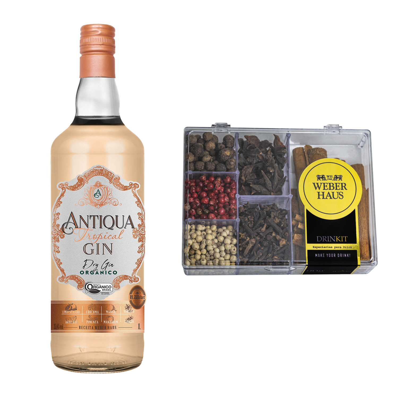 Antiqua Dry Gin Tropical com Kit de Especiarias para Drink