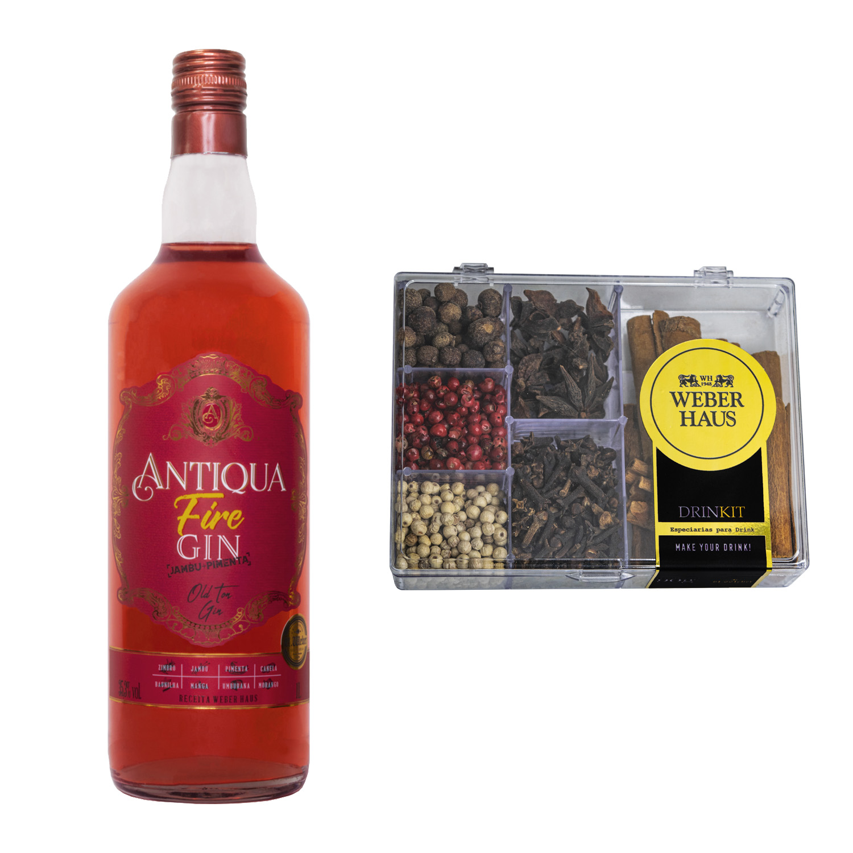 Antiqua Fire Gin com Kit de Especiarias para Drink