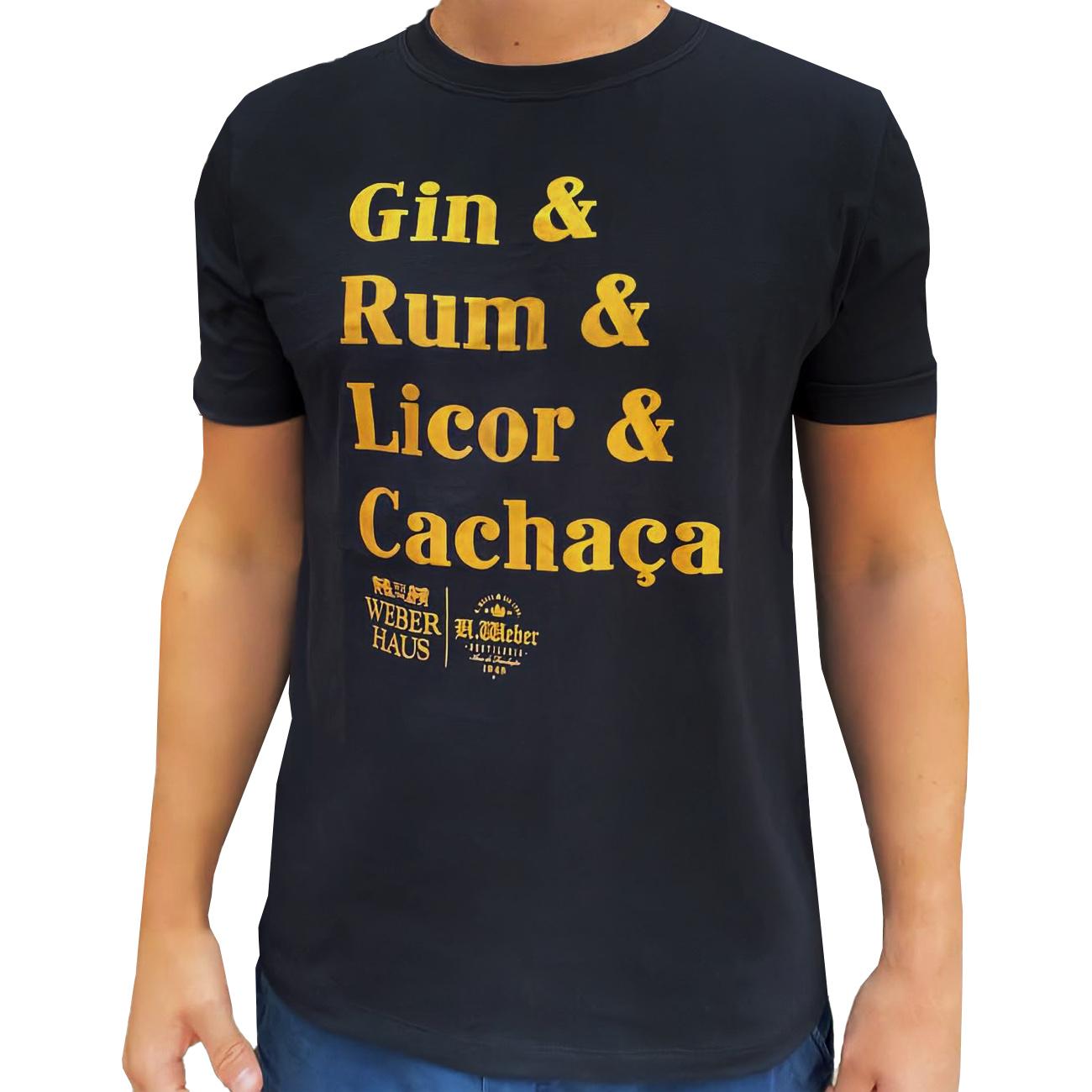 Camiseta Weber Haus Preta - Gin & Rum & Licor & Cachaça - Tamanho P