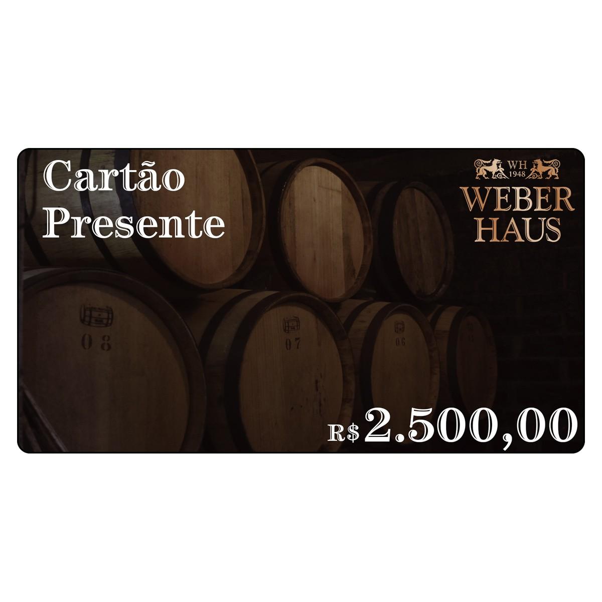 Cartão Presente no Valor de R$2.500,00