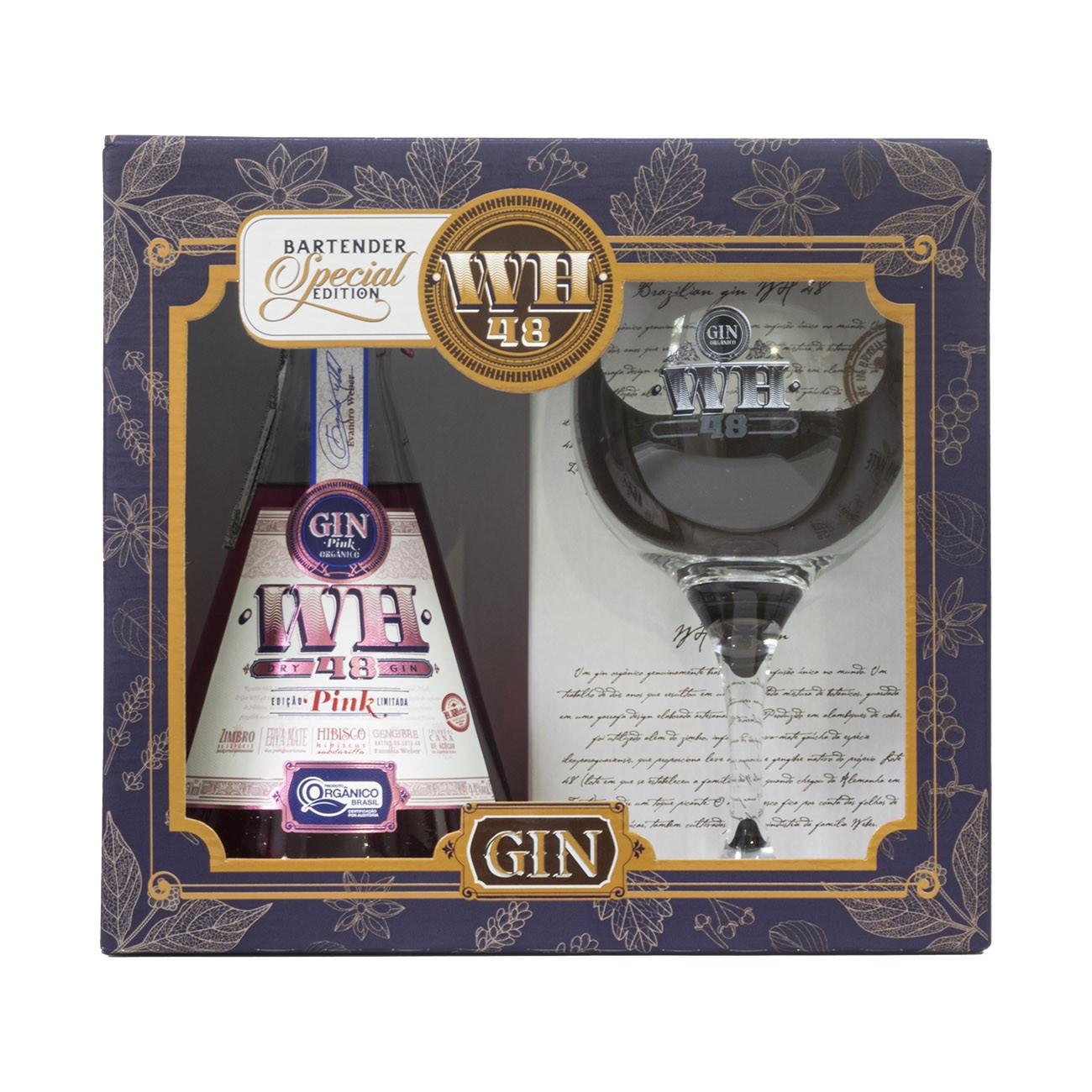 Kit com um Gin WH48 Pink 750ml e uma Taça De Gin Tonica 600ml.