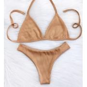 Biquíni Top Fixo Asa Delta Cortininha - Nude