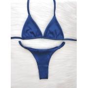 Biquíni Canelado Fita Cortininha SEM BOJO - Azul Royal