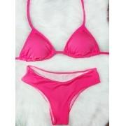 Biquíni Cortininha Plus Size - Rosa Neon