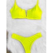 Biquini Decote V - Amarelo Neon