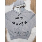 Blusa de Moletom Power Girl - Cinza