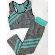 Conjunto Fitness Top e calça - Cinza e Verde