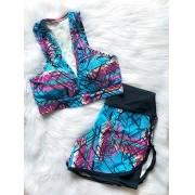Conjunto Top Fitness com Shorts Duplo - Azul Geométrico