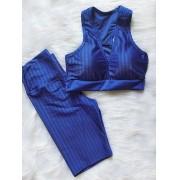 Top Fitness e Bermuda Poliamida 3D - Azul
