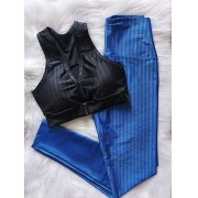 Conjunto Top Fitness e Calça Legging Poliamida 3D - Preto e Azul