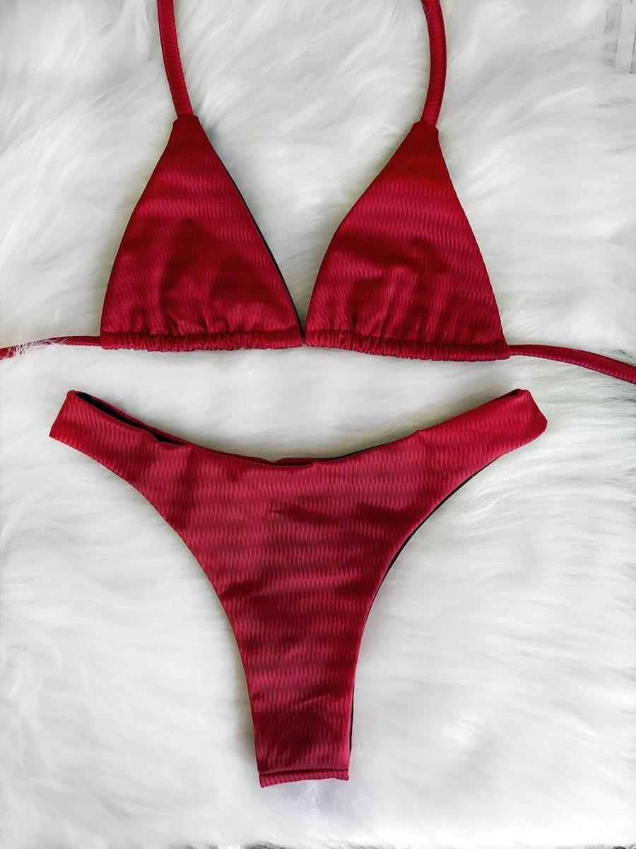 Biquíni Asa Delta Cortininha - 3D Vermelho