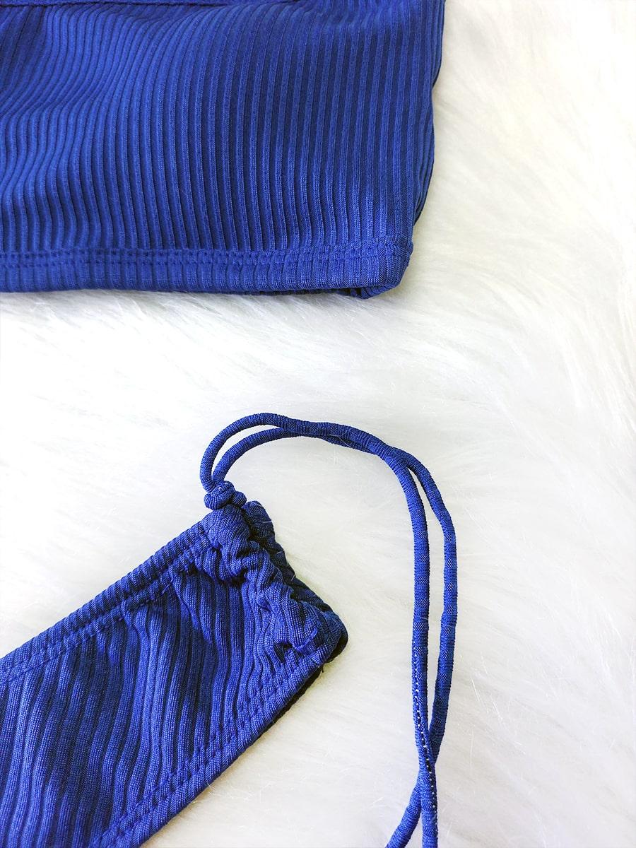 Biquíni Canelado Asa Delta Top Faixa - Azul Royal