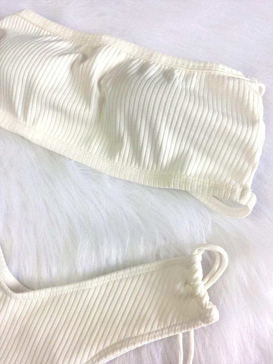 Biquíni Canelado Asa Delta Top Faixa - Off White