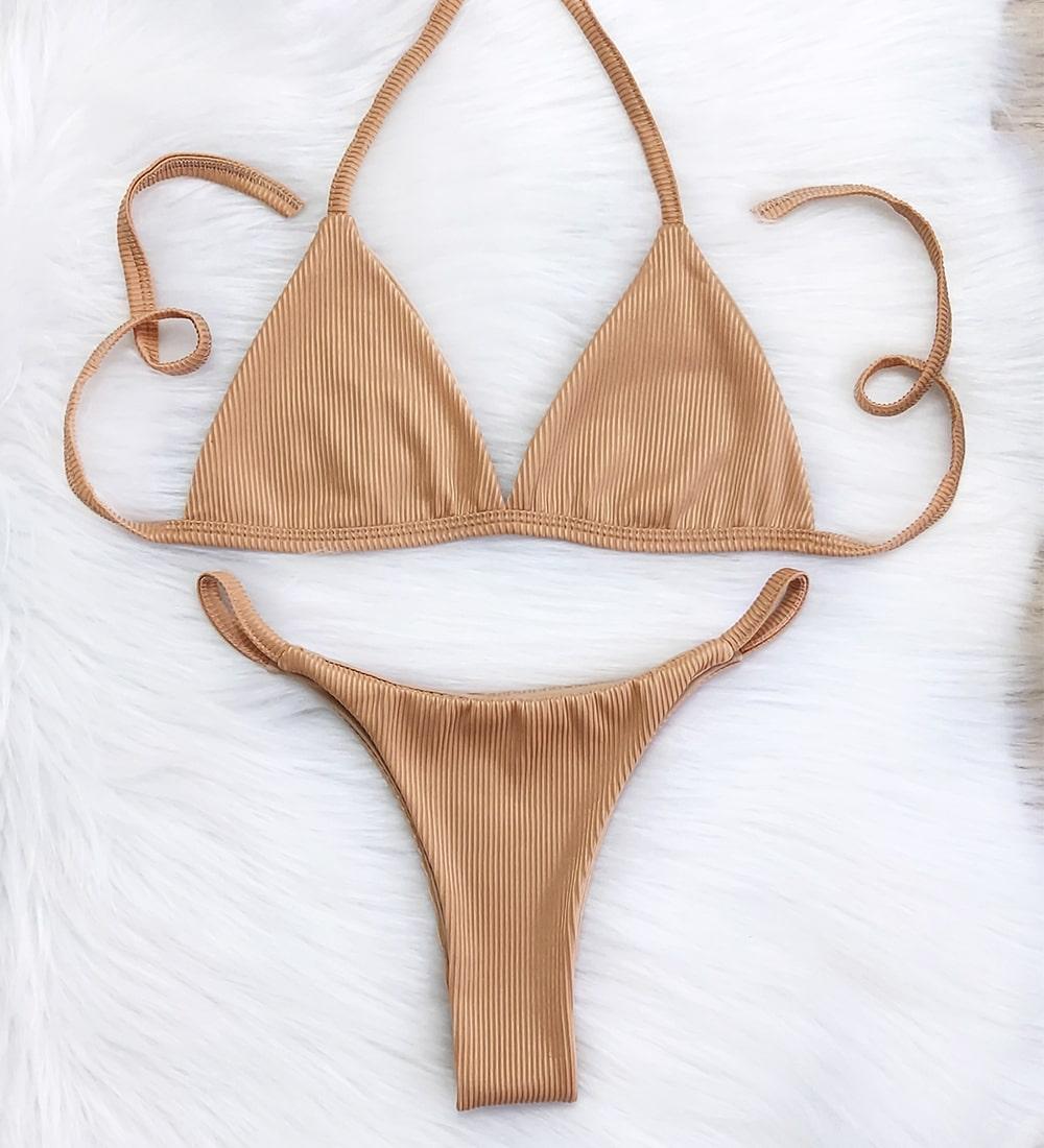 Biquíni Canelado Fita Top Fixo - Nude