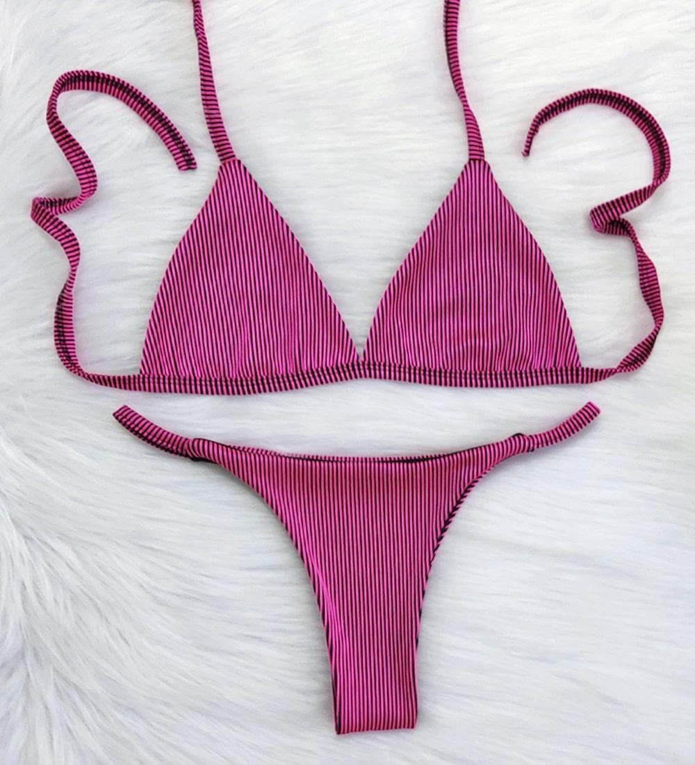 Biquíni Canelado Fita Top Fixo - Preto e Pink