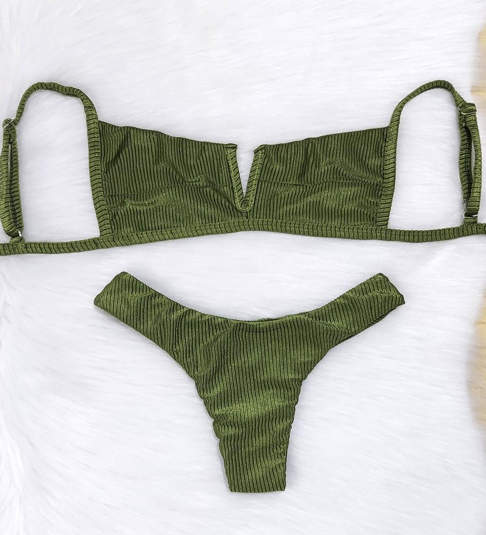 Biquini Decote V Canelado Acetinado | Diamantina - Verde Musgo