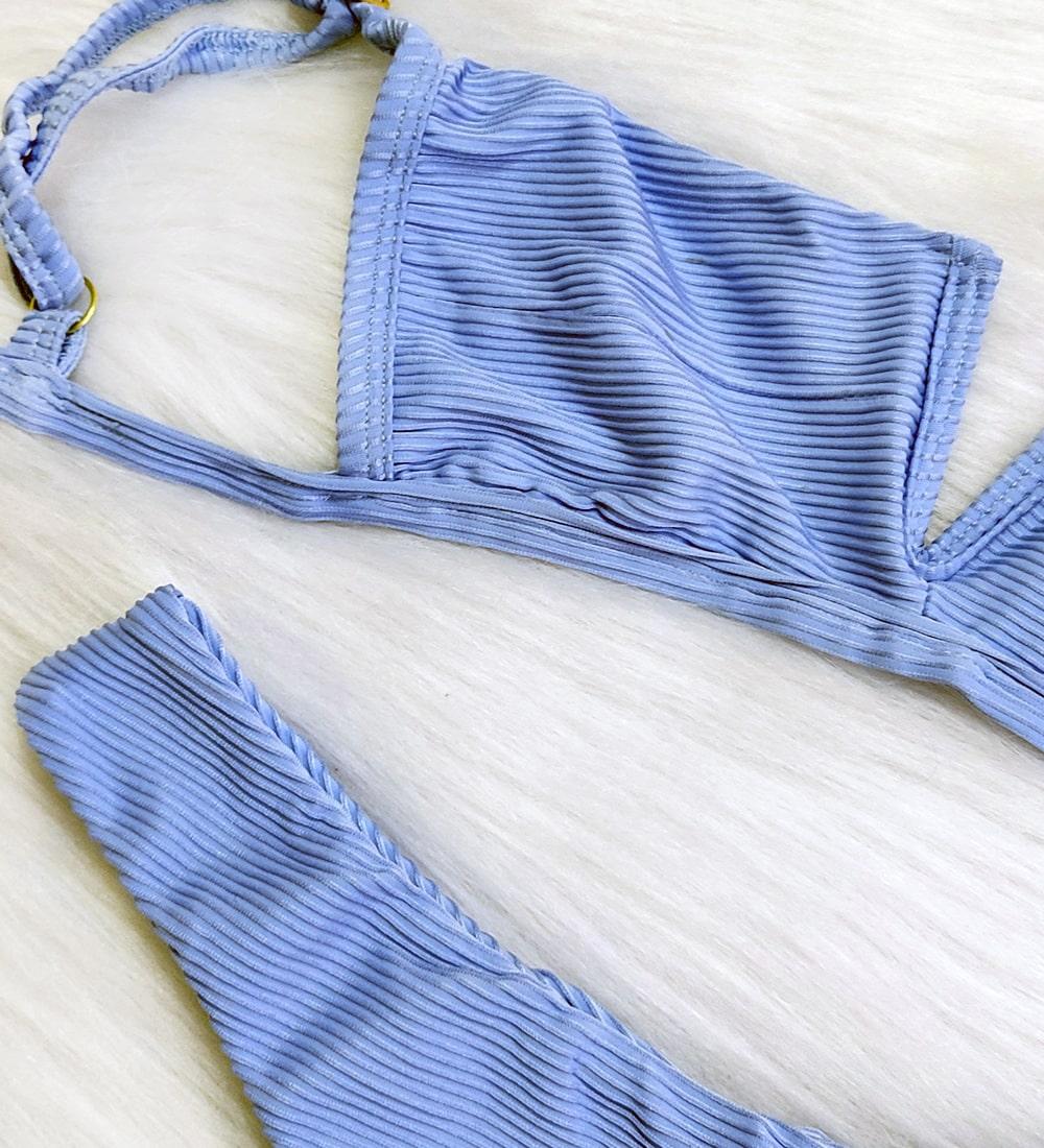 Biquíni Decote V Canelado - Azul Bebê