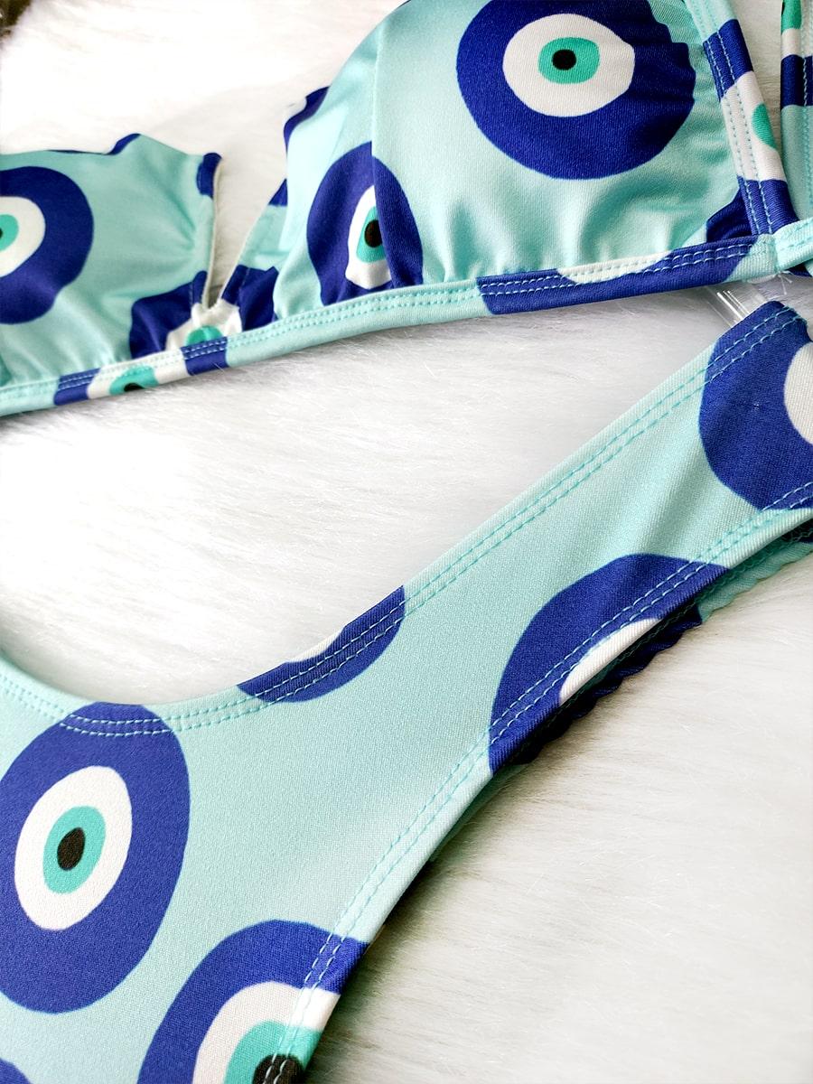 Biquíni Decote V - Olho Grego Verde Água
