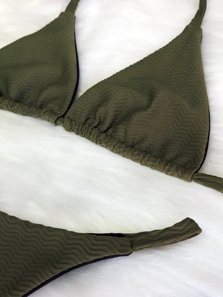 Biquíni Fita Cortininha Zig Zag SEM BOJO - Verde Militar