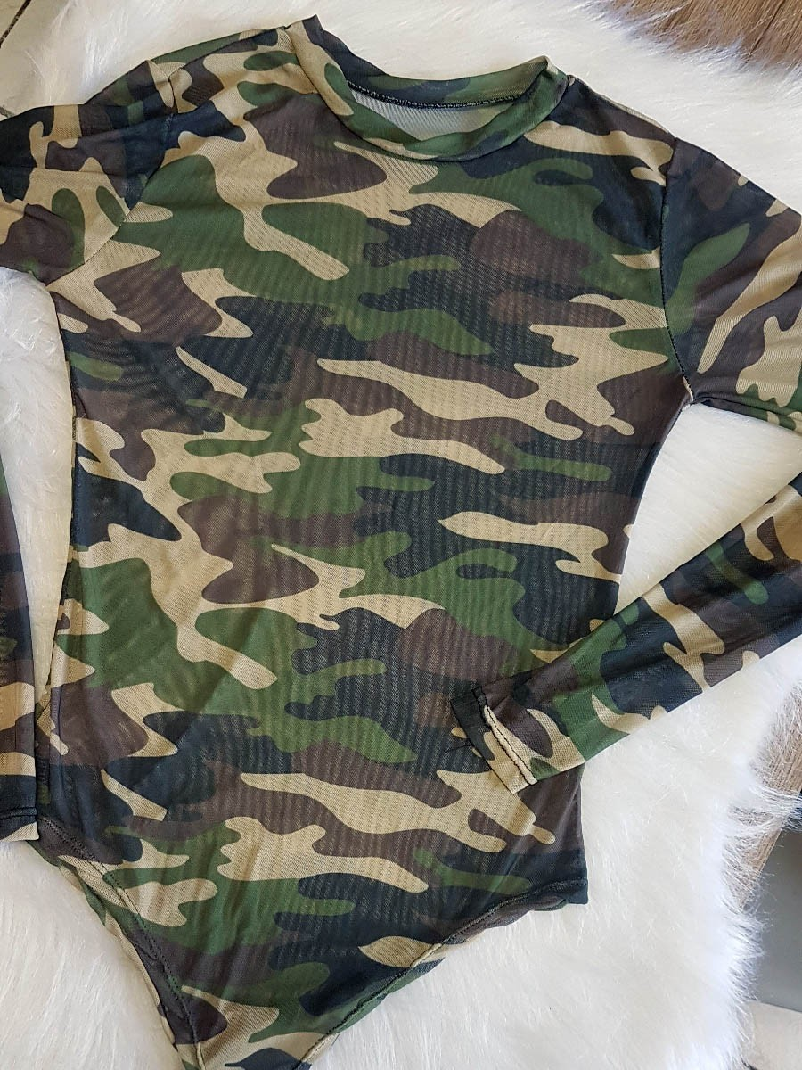 Body de Tule Manga Longa Militar