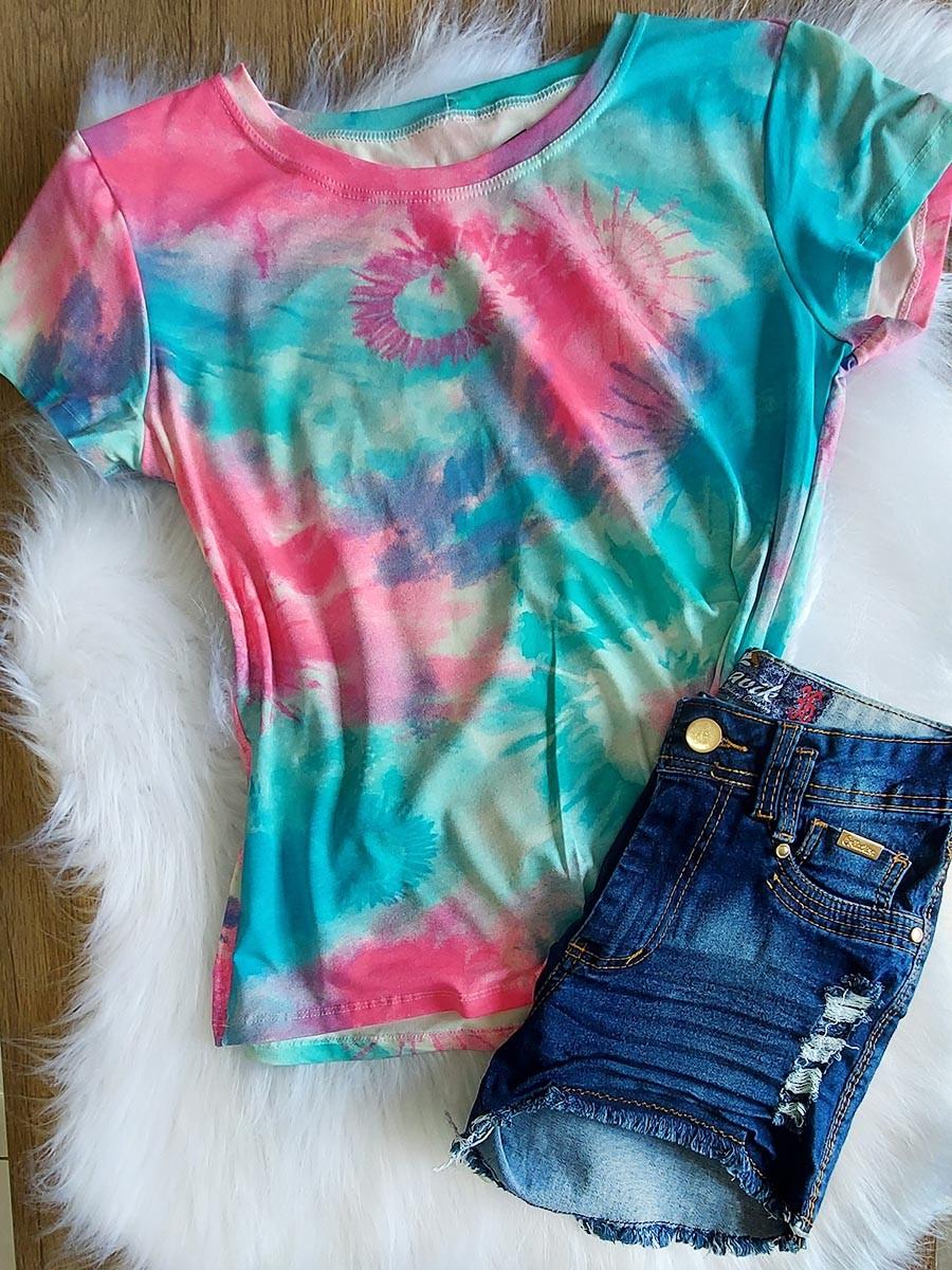 Camiseta Tie Dye Azul e Rosa