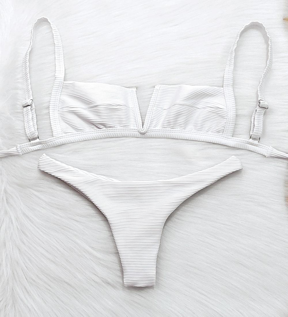 Conjunto Biquíni Decote V Asa Delta Canelado Summer - Branco
