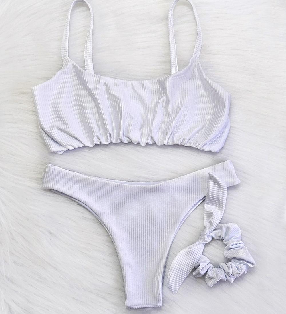 Conjunto Biquini Diamantina Branco Pérola - Top Alcinha Calcinha Asa