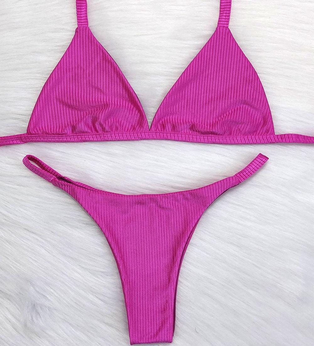 Conjunto Biquini Diamantina Pink Light - Top Fixo Calcinha Fita