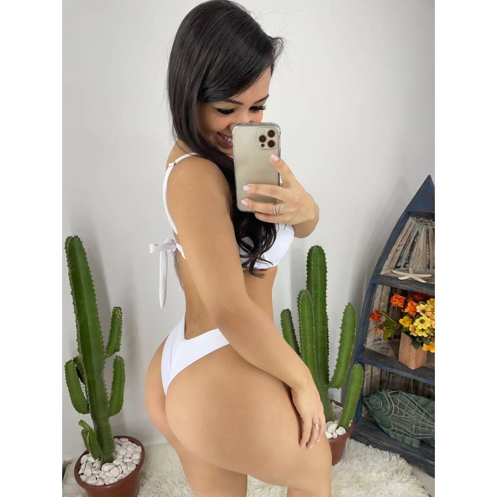 Conjunto Biquíni Meia Taça Asa Delta Candy - Branco