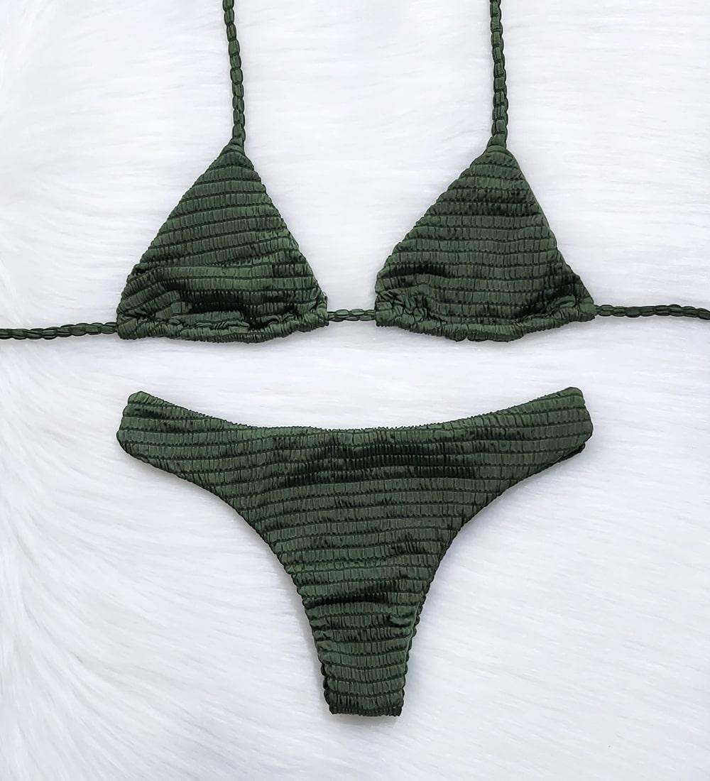 Conjunto Biquíni Top Cortininha Asa Delta Piquet Candy - Verde Militar