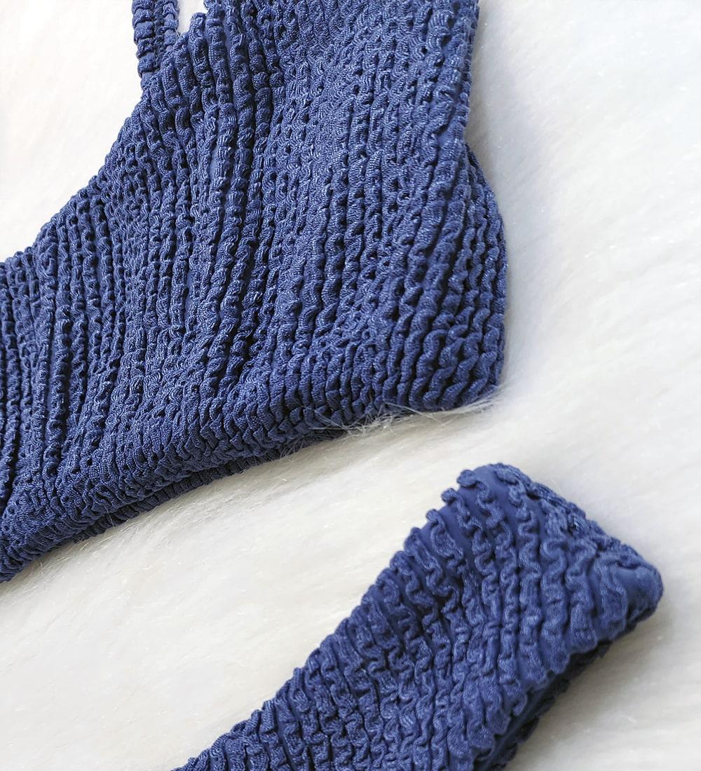 Conjunto Top Alcinha Asa Delta Glacial - Azul Jeans