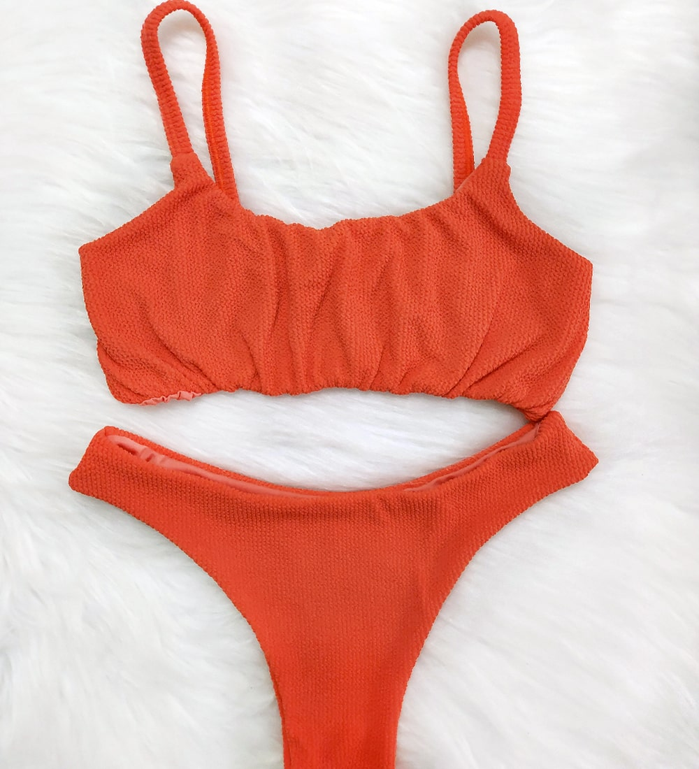 Conjunto Top Alcinha Asa Delta Glacial - Vermelho Coral