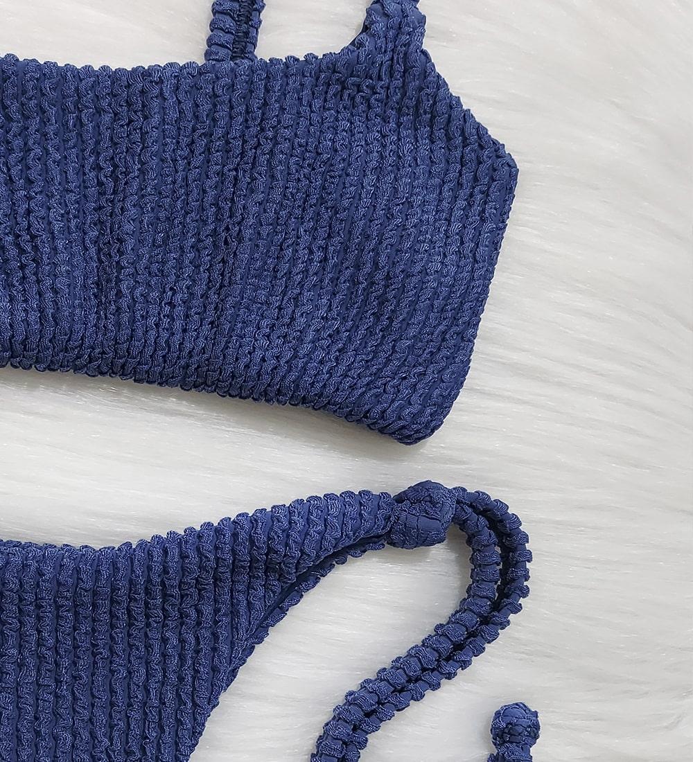 Conjunto Top Alcinha Lacinho Glacial - Azul Jeans