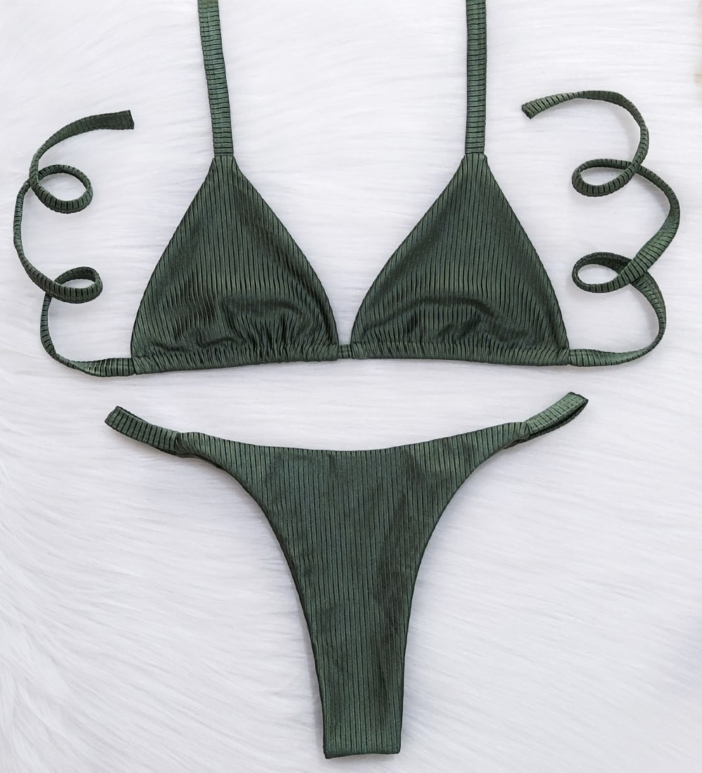 Conjunto Top Cortininha Fita Diamantina Metálico - Verde Militar