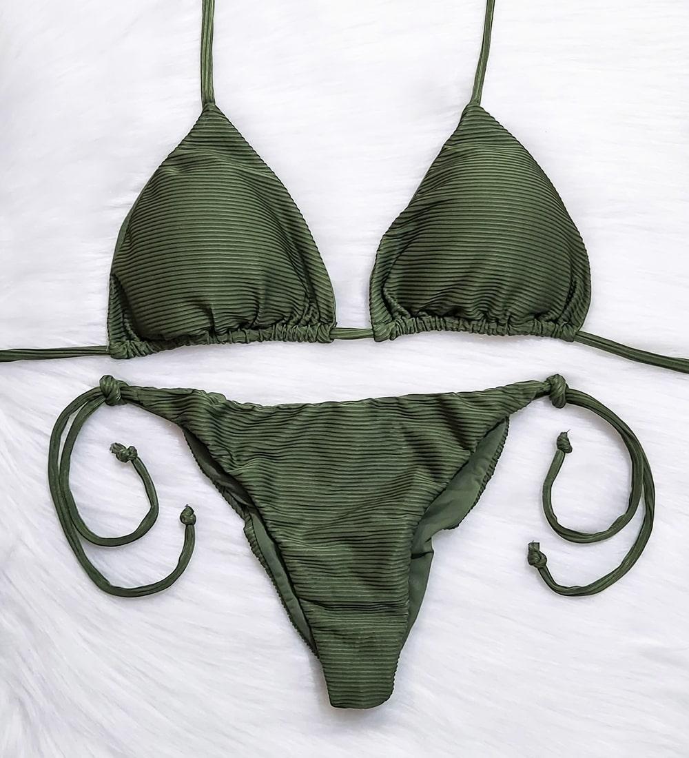 Conjunto Top Cortininha Lacinho Canelado Diamantina - Verde Militar
