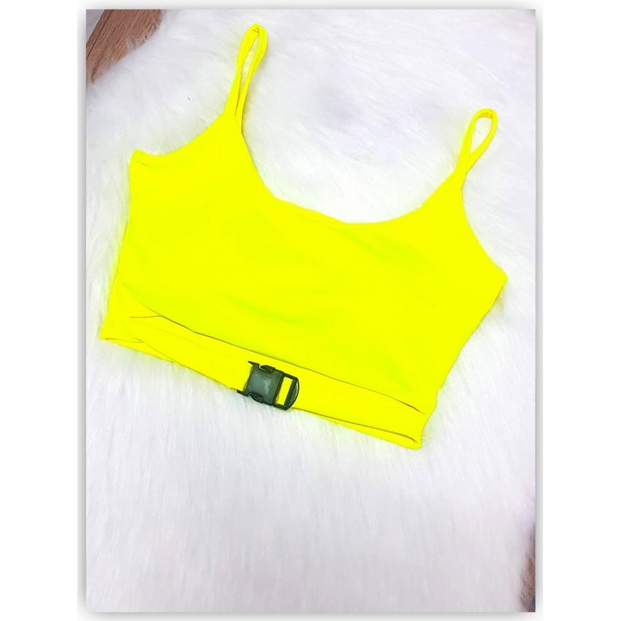 Cropped Gringo com Fivela - Amarelo