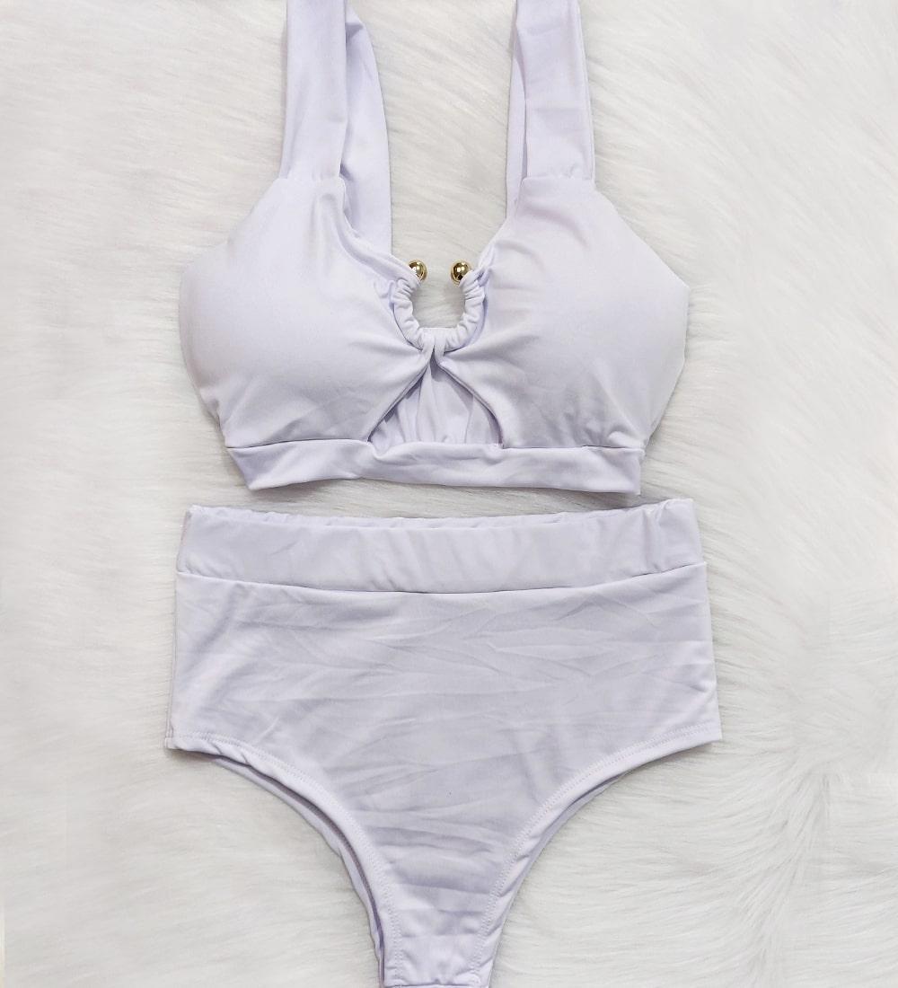 Biquini Argola Hot Pants Vênus - Branco