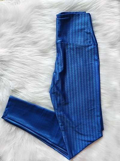 Top Fitness e Calça Legging Poliamida 3D - Azul