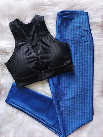 Top Fitness e Calça Legging Poliamida 3D - Preto e Azul