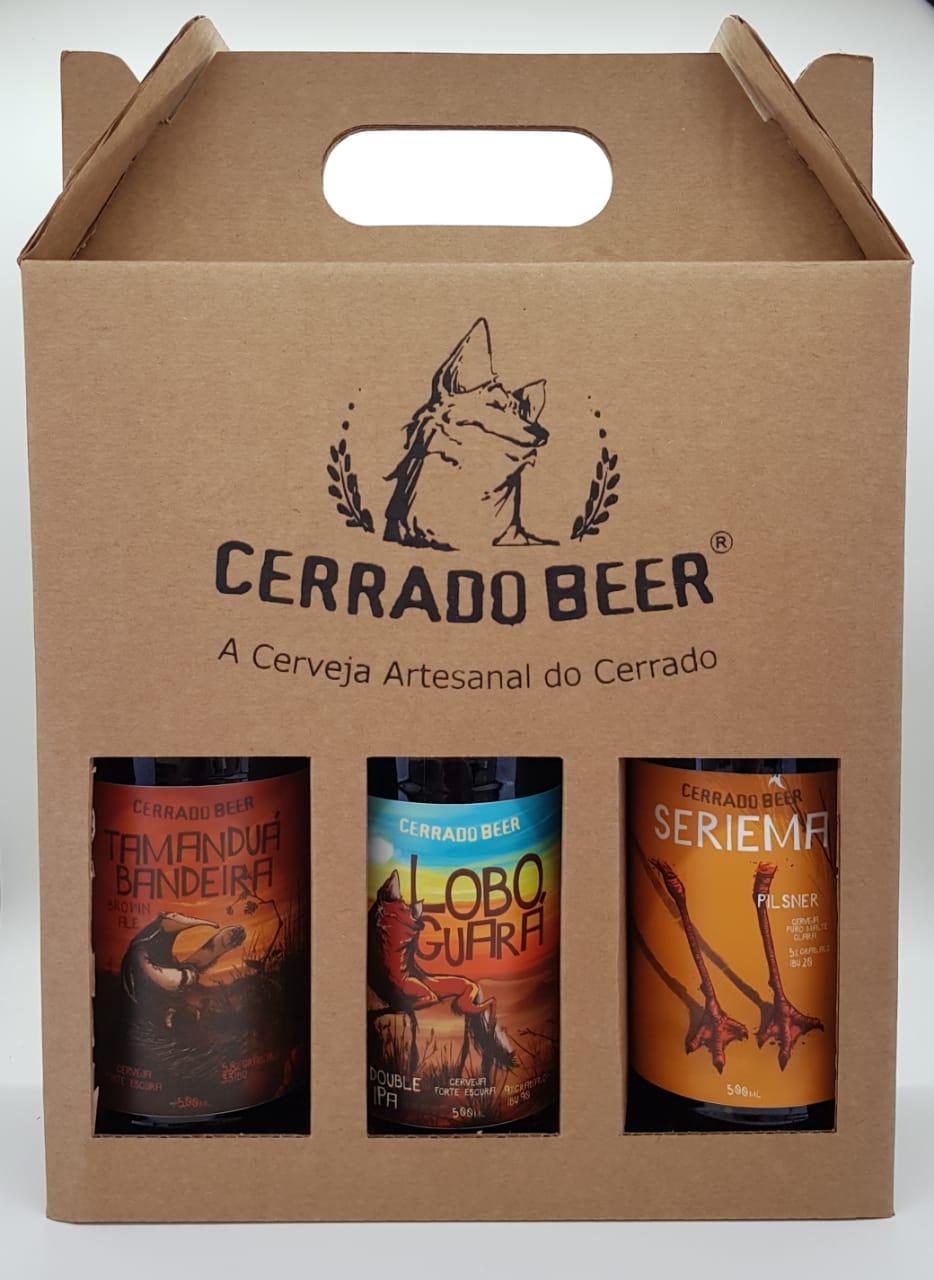 Kit Presente com 3 rótulos da Cerrado Beer: Tamanduá Bandeira Brown Ale, Lobo Guará Double IPA + Seriema Pilsner