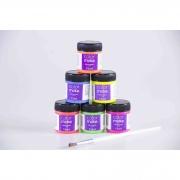 Tinta Líquida Neon Facial Com Pincel 6 Cores (15Ml Cada) - Color Make