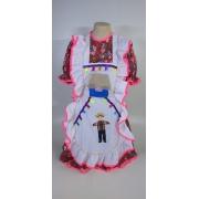 Vestido Adulto Junino Avental Branco Pink Tam. P