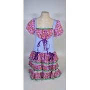 Vestido Caipira Adulta Azul Rosa Flores Tam. GG