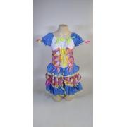 Vestido Caipira Adulta Branco Azul Xadrez Tam. GG