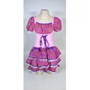 Vestido Caipira Adulta Rosa Flores Tam. M
