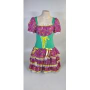 Vestido Caipira Adulta Rosa Verde Flores Tam. GG