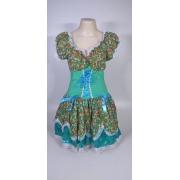 Vestido Caipira Adulta Verde Flores Tam. G