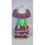 Vestido Caipira Adulta Vermelho Verde Flor Tam. GG