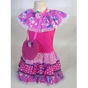 Vestido Caipira Infantil Flores Pink Tam. P